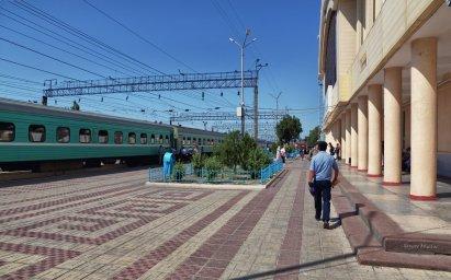 #Тараз.  Перрон ЖД вокзал